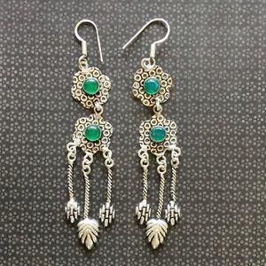 Exotic Green Onyx Gemstone Earrings Drop Dangle